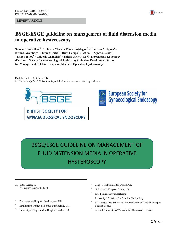 BSGE/ESGE guideline on management of fluid distension media