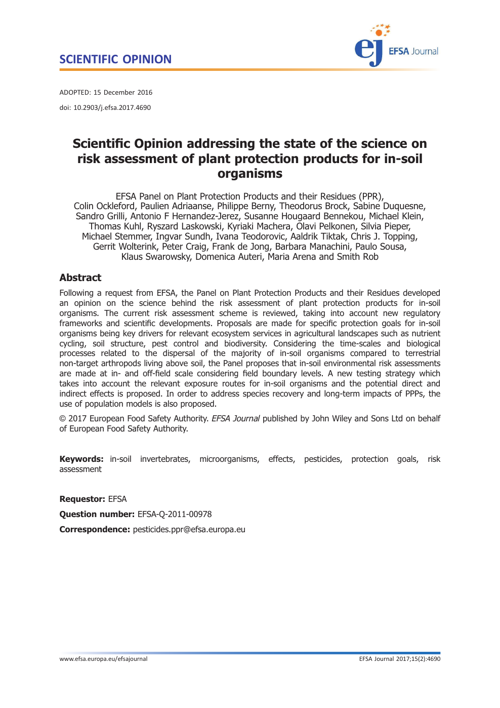 Scientific Opinion addressing the state of the science on risk
