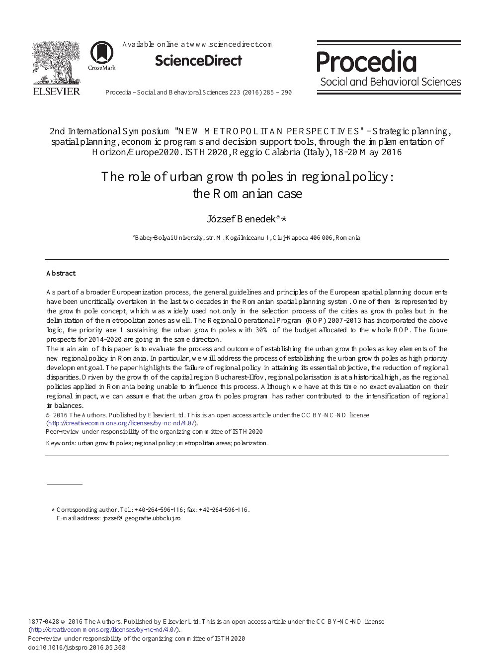 The Role of Urban Growth Poles in Regional Policy: The Romanian Case