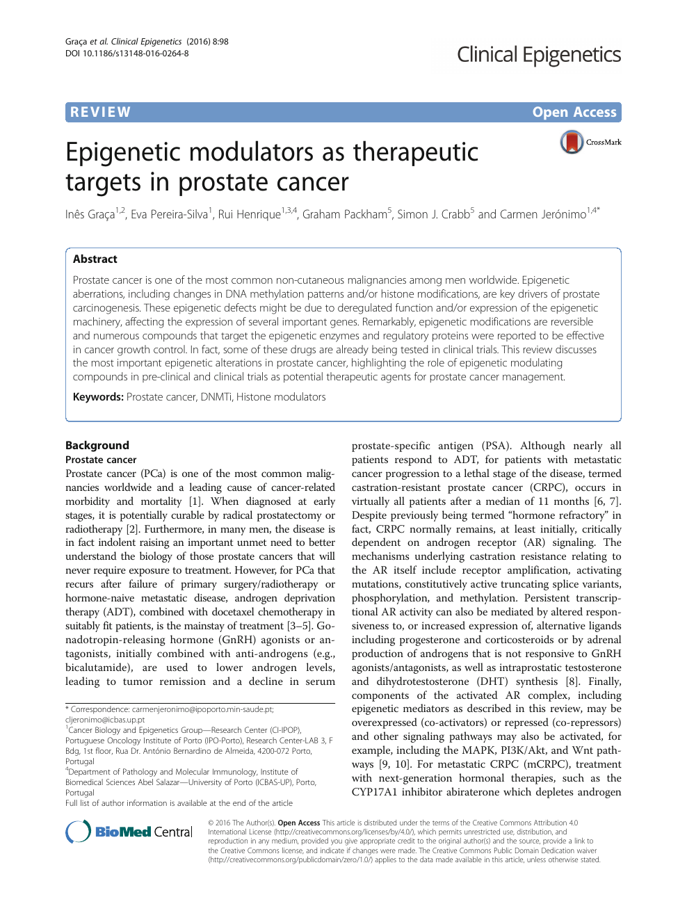 Epigenetic modulators as therapeutic targets in prostate