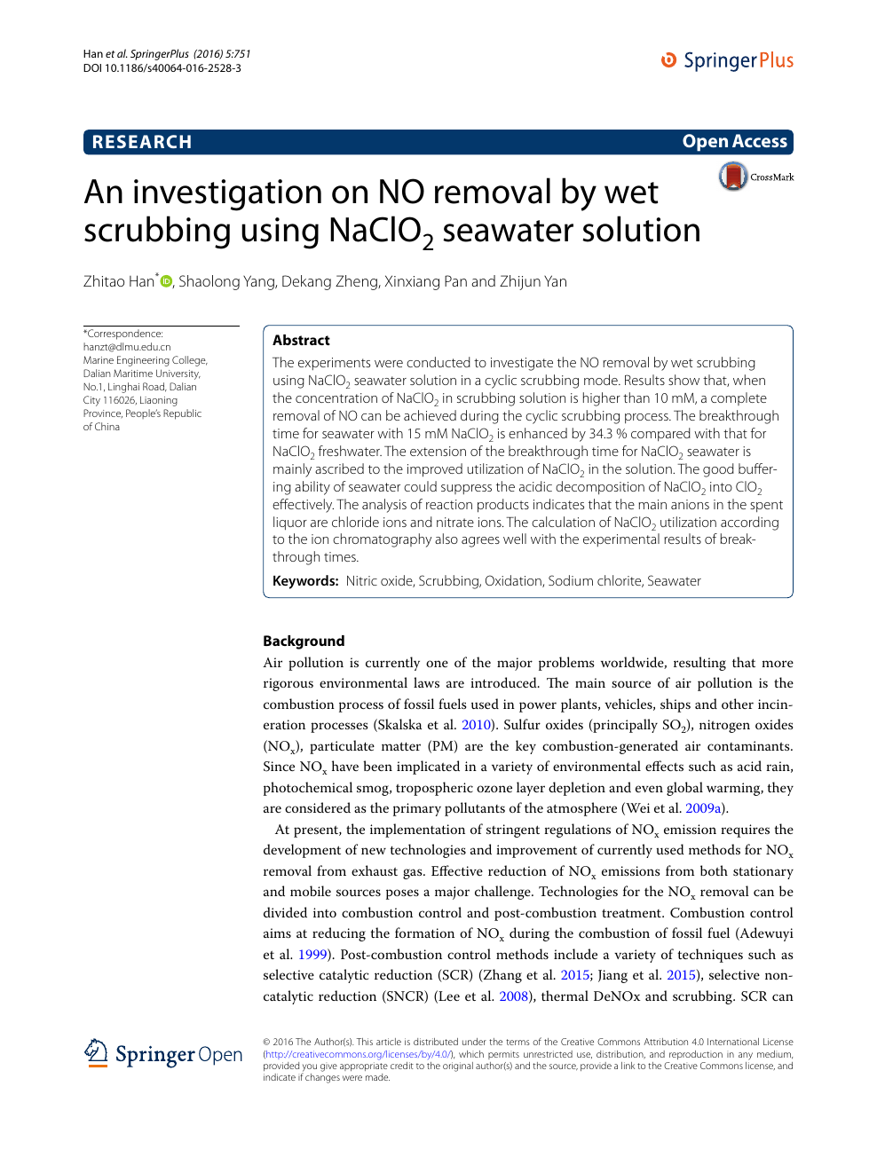 An investigation on NO removal by wet scrubbing using NaClO2