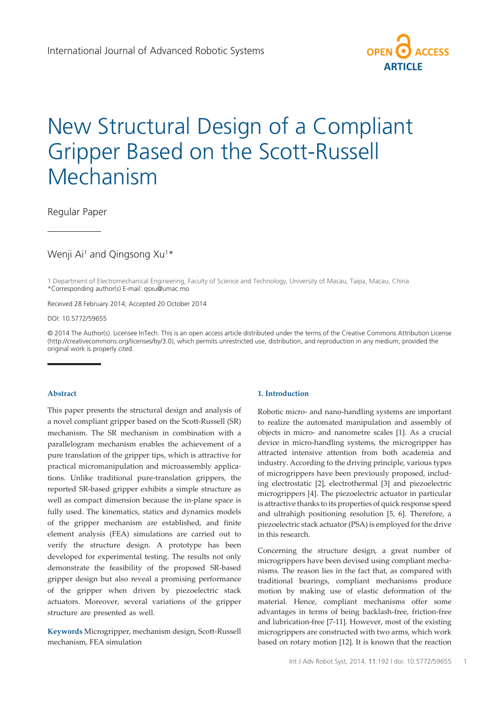New Structural Design Of A Compliant Gripper Based On The Scott Russell Mechanism Topic Of Research Paper In Mechanical Engineering Download Scholarly Article Pdf And Read For Free On Cyberleninka Open Science