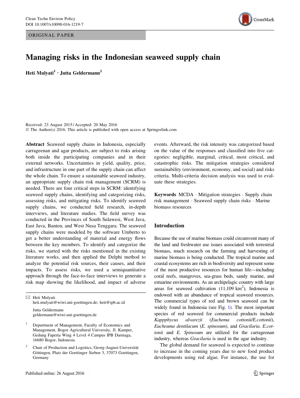 Managing risks in the Indonesian seaweed supply chain