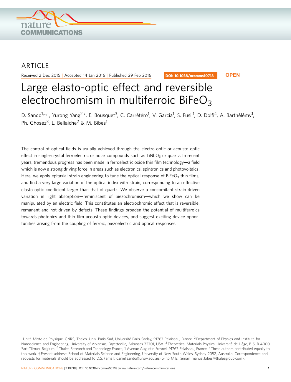 Large elasto-optic effect and reversible electrochromism in