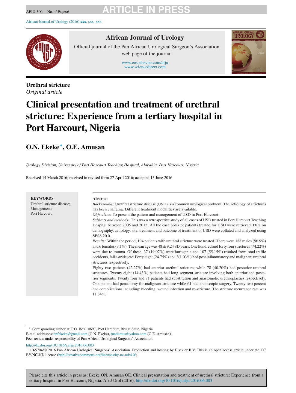 Clinical presentation and treatment of urethral stricture