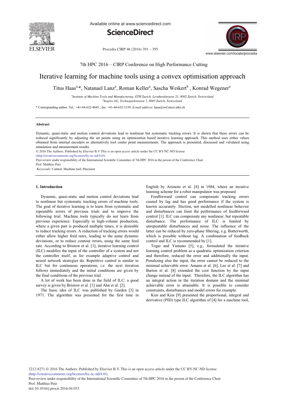 Iterative Learning for Machine Tools Using a Convex