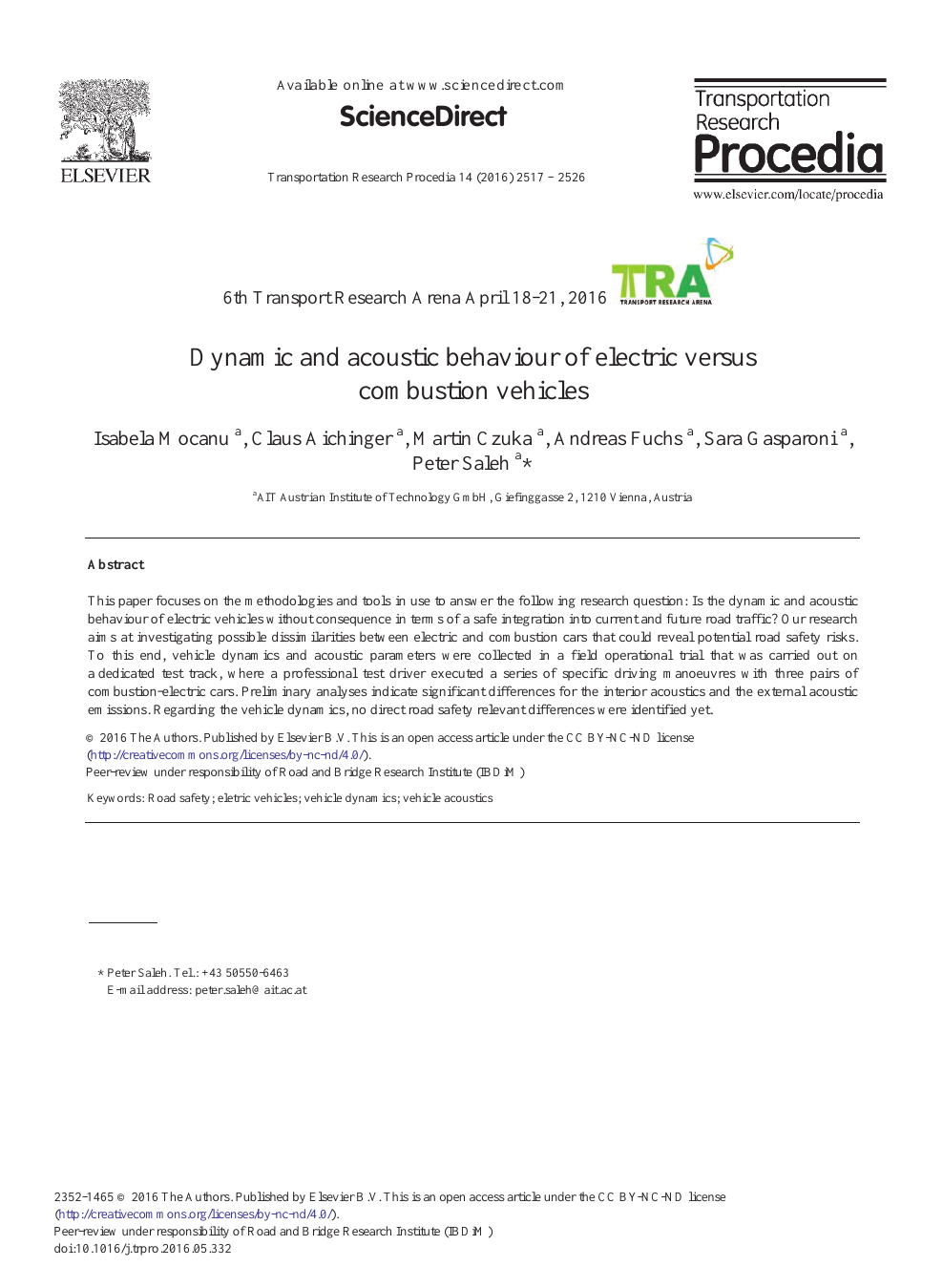 Dynamic and Acoustic Behaviour of Electric Versus Combustion
