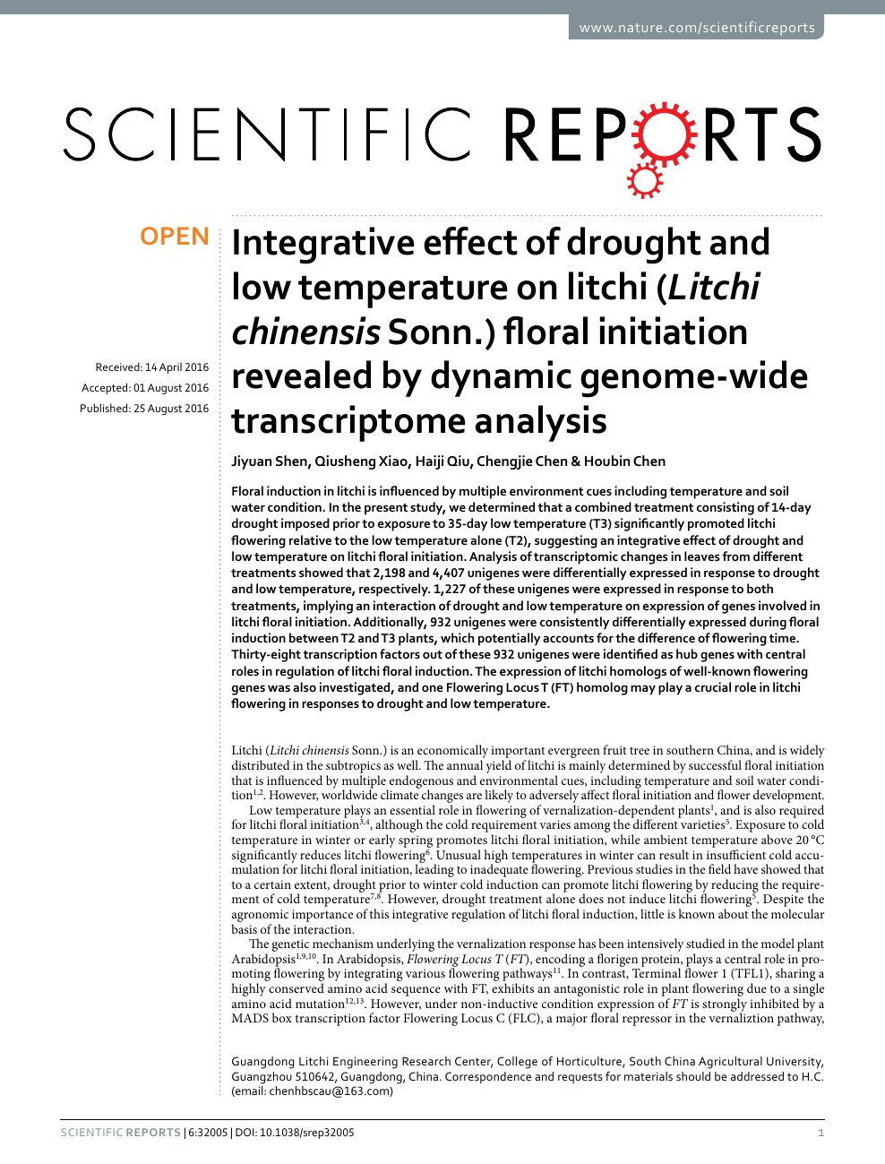 Integrative effect of drought and low temperature on litchi