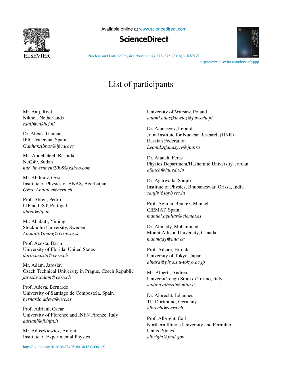 Ariella Ferrer list of participants – topic of research paper in law
