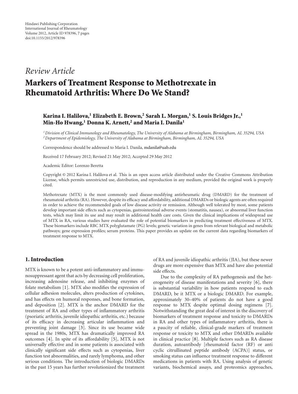 Markers Of Treatment Response To Methotrexate In Rheumatoid Arthritis Where Do We Stand Topic Of Research Paper In Clinical Medicine Download Scholarly Article Pdf And Read For Free On Cyberleninka Open