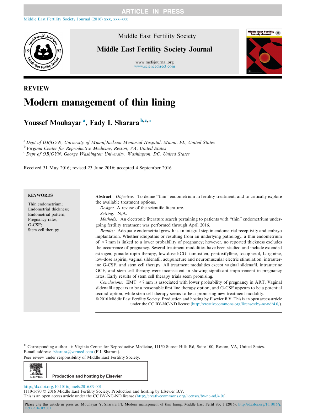 Modern management of thin lining – topic of research paper