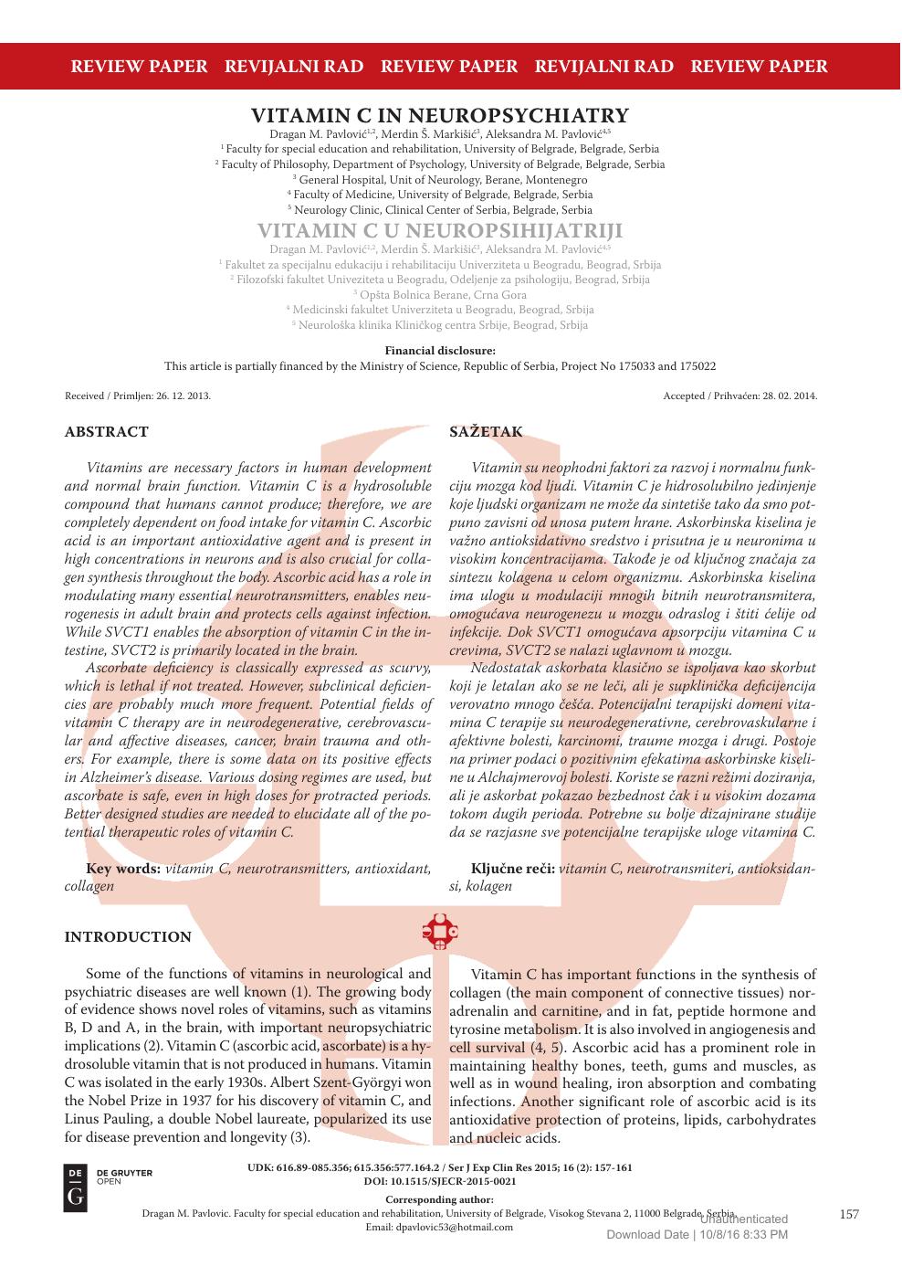 Vitamin C In Neuropsychiatry – topic of research paper in Clinical