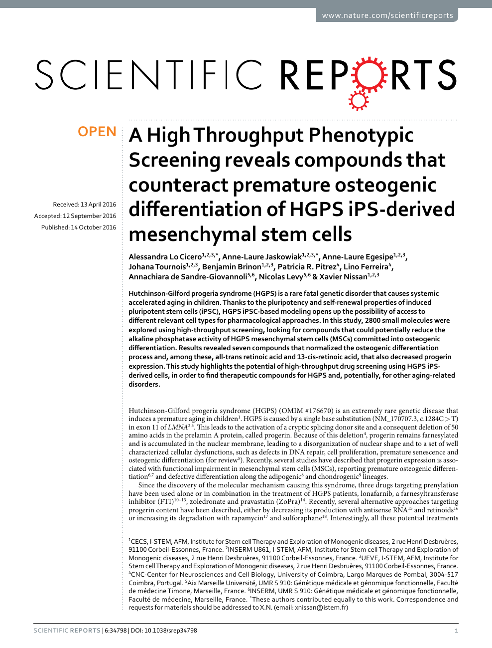 A High Throughput Phenotypic Screening reveals compounds