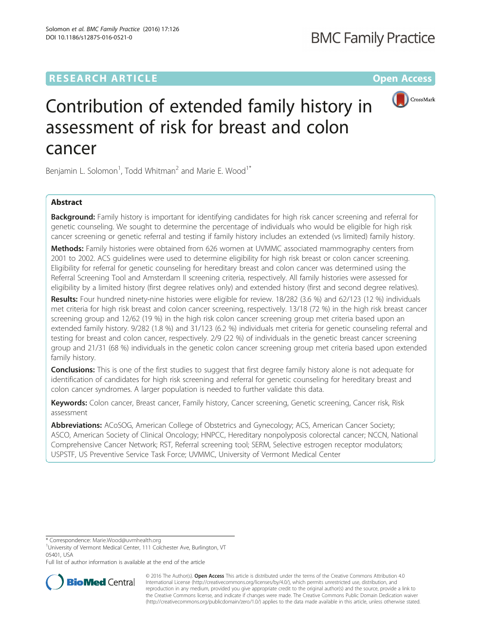 Contribution Of Extended Family History In Assessment Of Risk For Breast And Colon Cancer Topic Of Research Paper In Health Sciences Download Scholarly Article Pdf And Read For Free On Cyberleninka