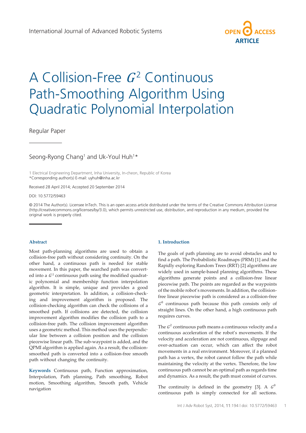 A Collision-Free G² Continuous Path-Smoothing Algorithm Using