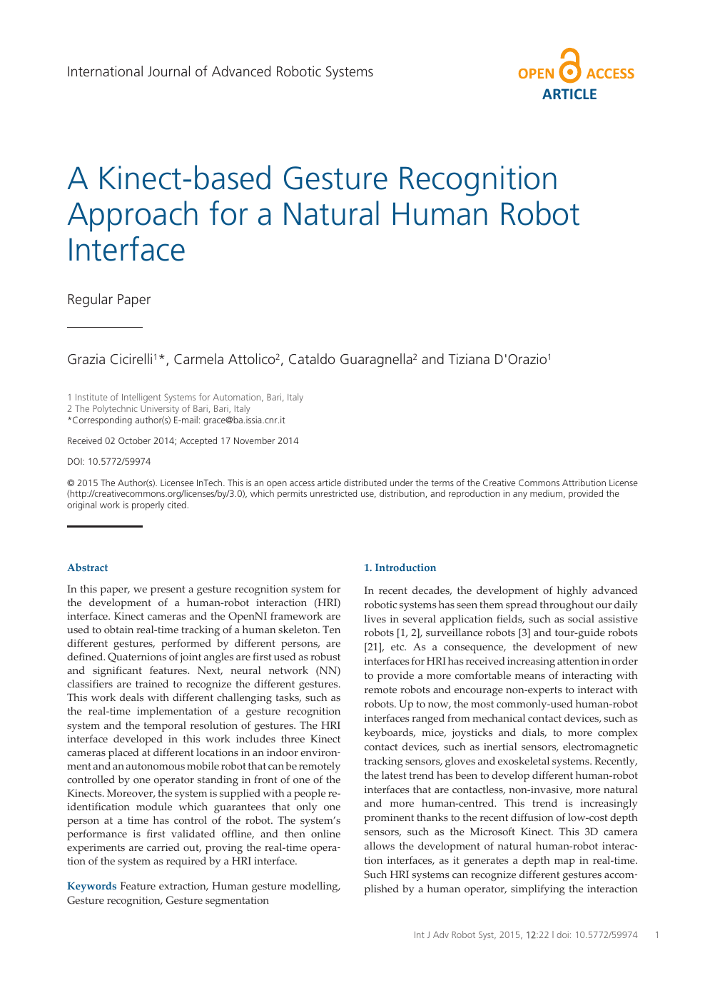 A Kinect-based Gesture Recognition Approach for a Natural Human