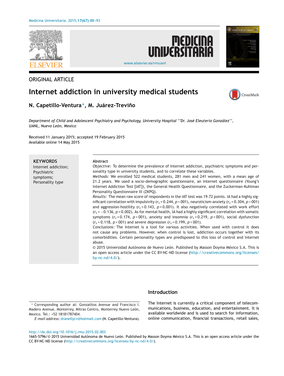 Internet addiction in university medical students – topic of