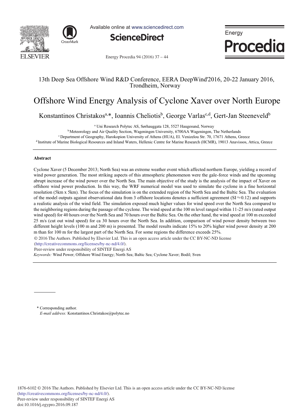 Offshore Wind Energy Analysis of Cyclone Xaver over North