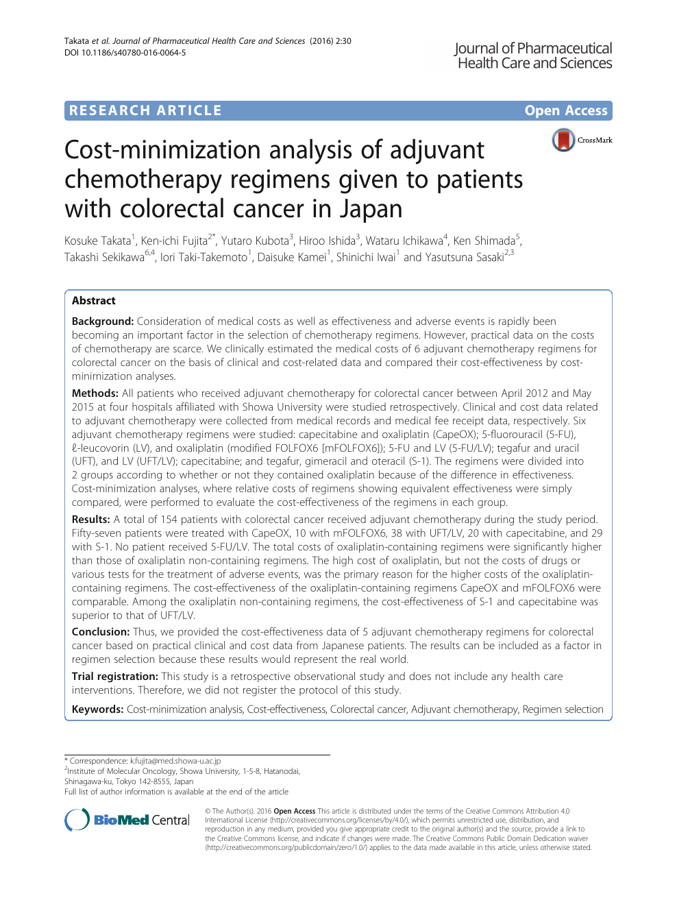 Cost Minimization Analysis Of Adjuvant Chemotherapy Regimens Given To Patients With Colorectal Cancer In Japan Topic Of Research Paper In Economics And Business Download Scholarly Article Pdf And Read For Free On