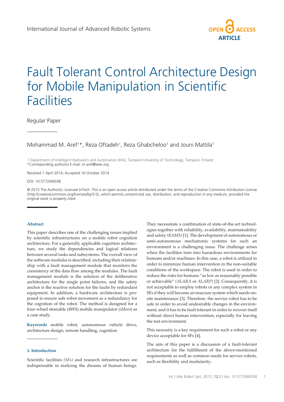 Fault Tolerant Control Architecture Design for Mobile