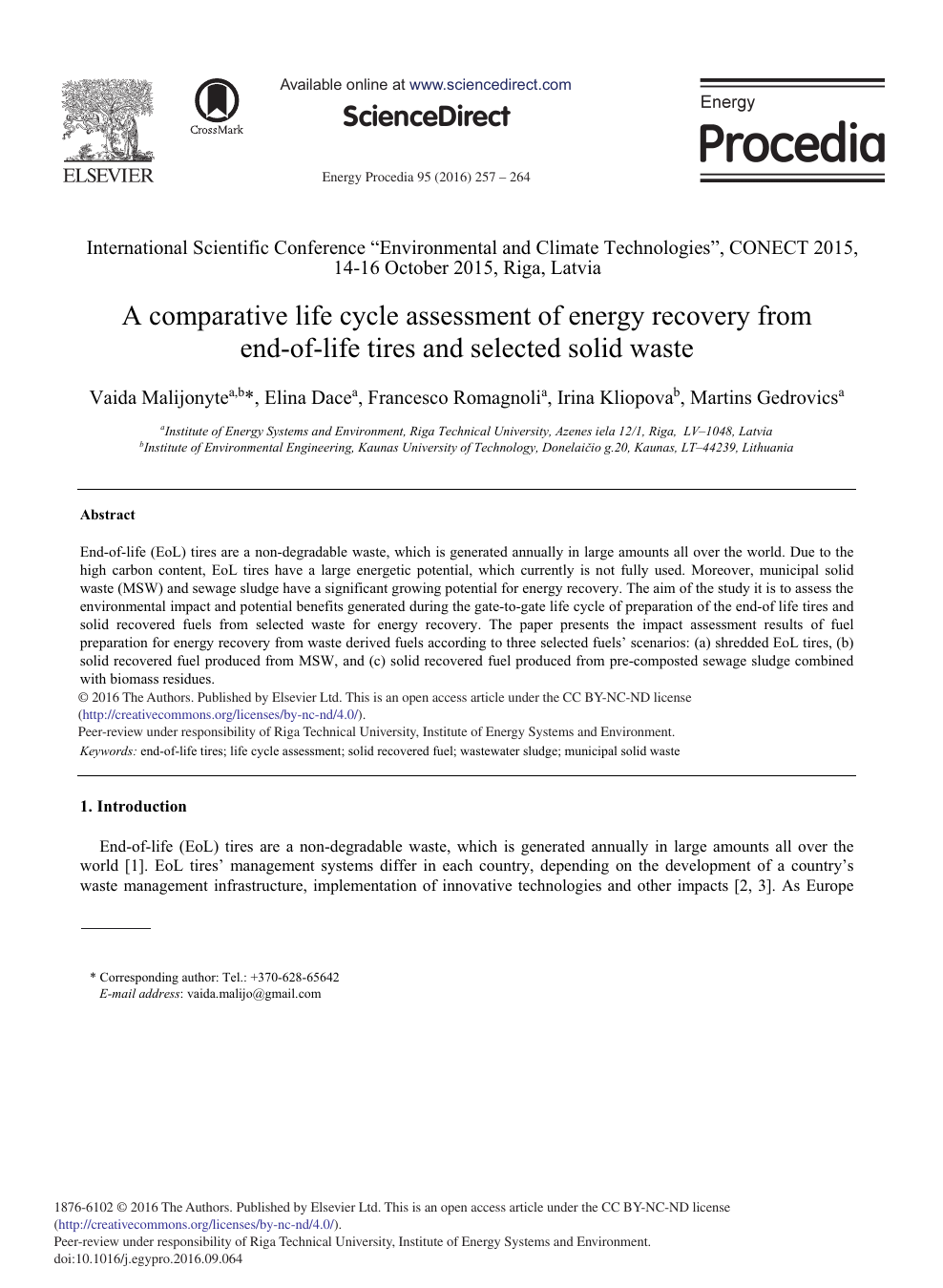A Comparative Life Cycle Assessment of Energy Recovery from end-of