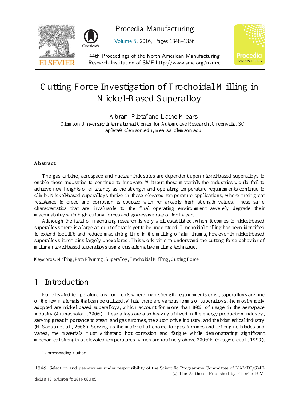 Cutting Force Investigation of Trochoidal Milling in Nickel-based