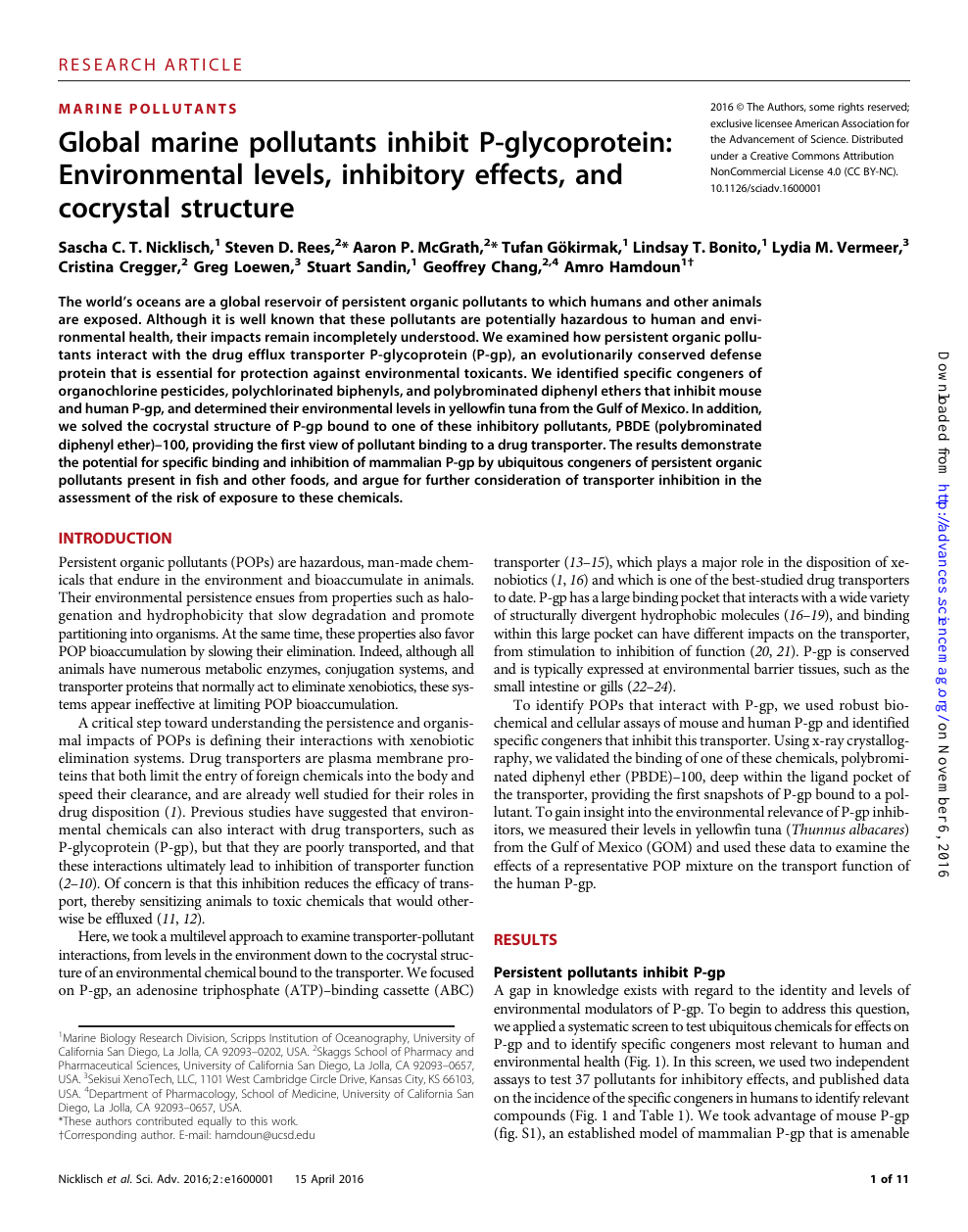Global marine pollutants inhibit P-glycoprotein