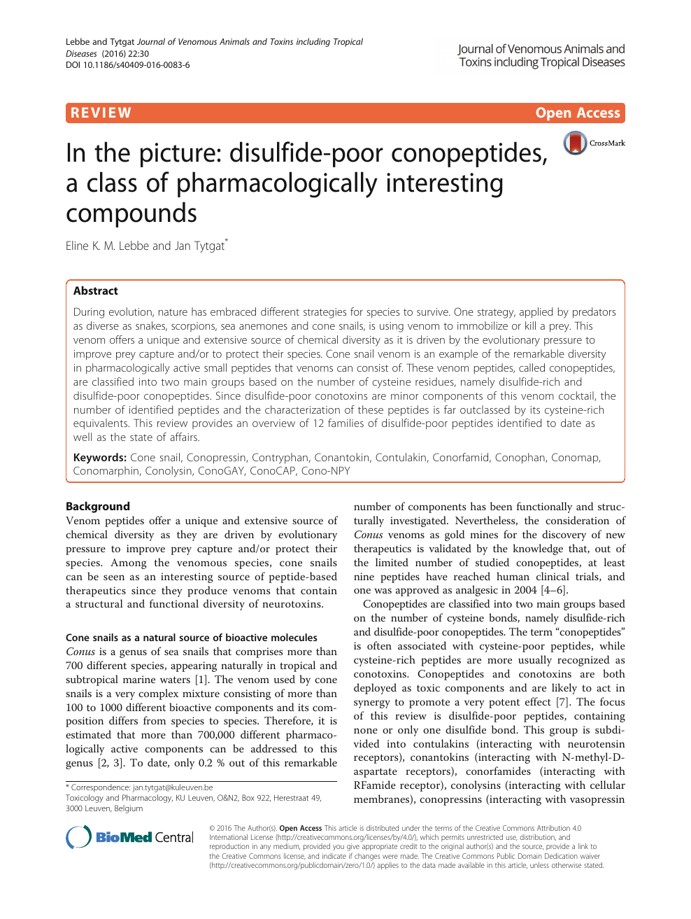 In the picture: disulfide-poor conopeptides, a class of