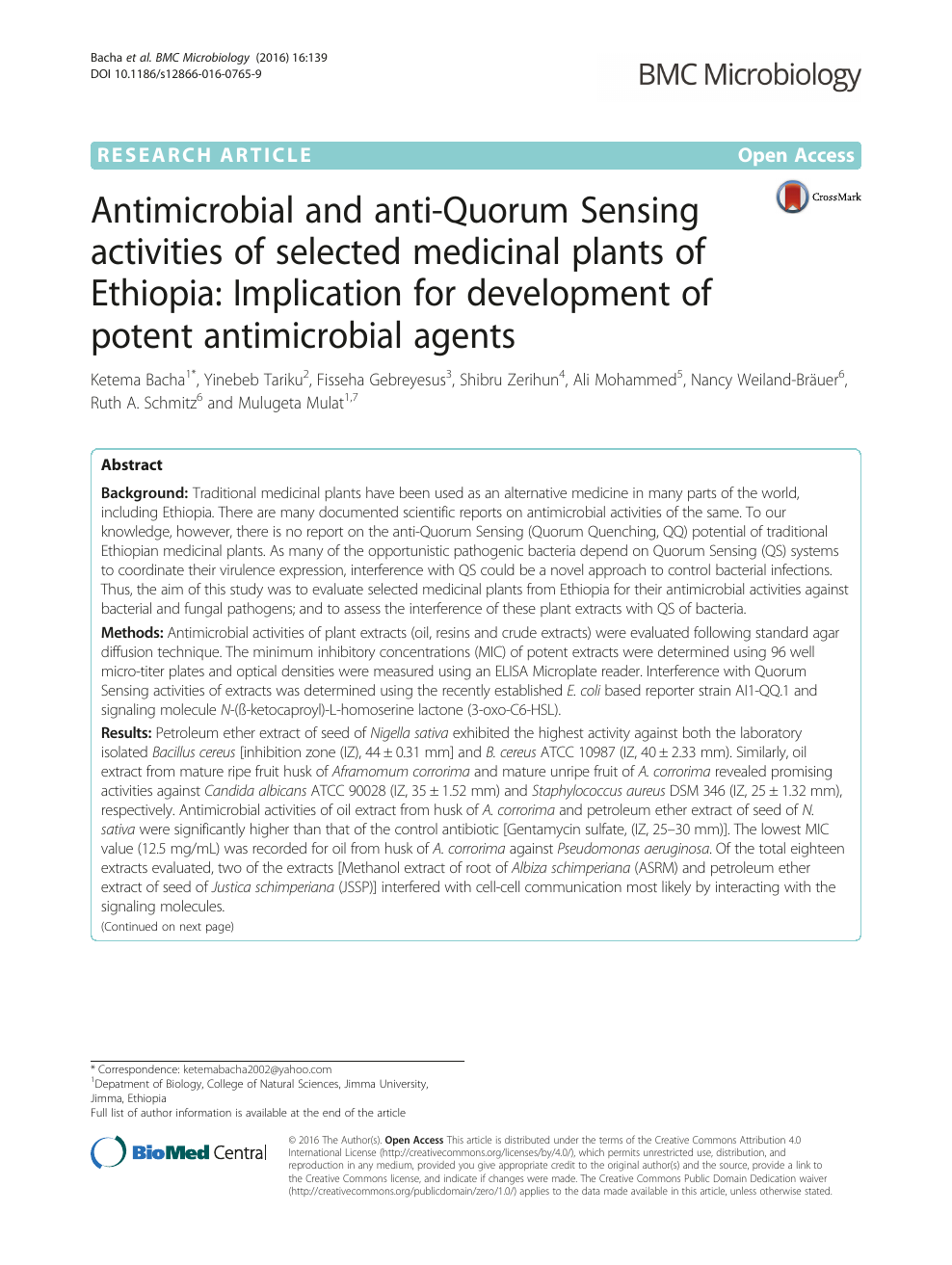 Antimicrobial and anti-Quorum Sensing activities of selected