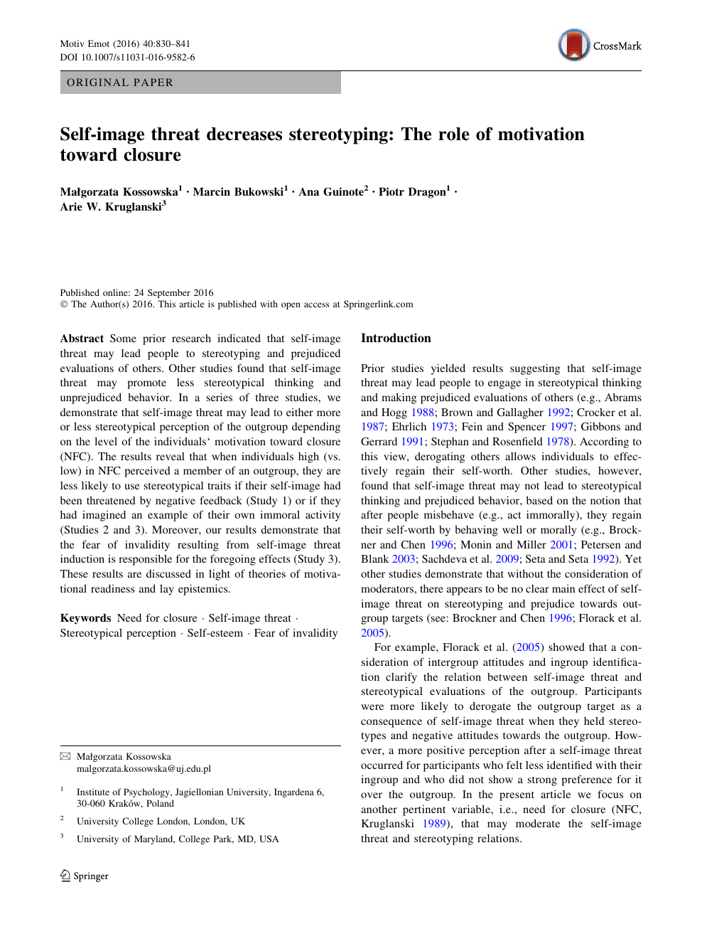 Self-image threat decreases stereotyping: The role of motivation
