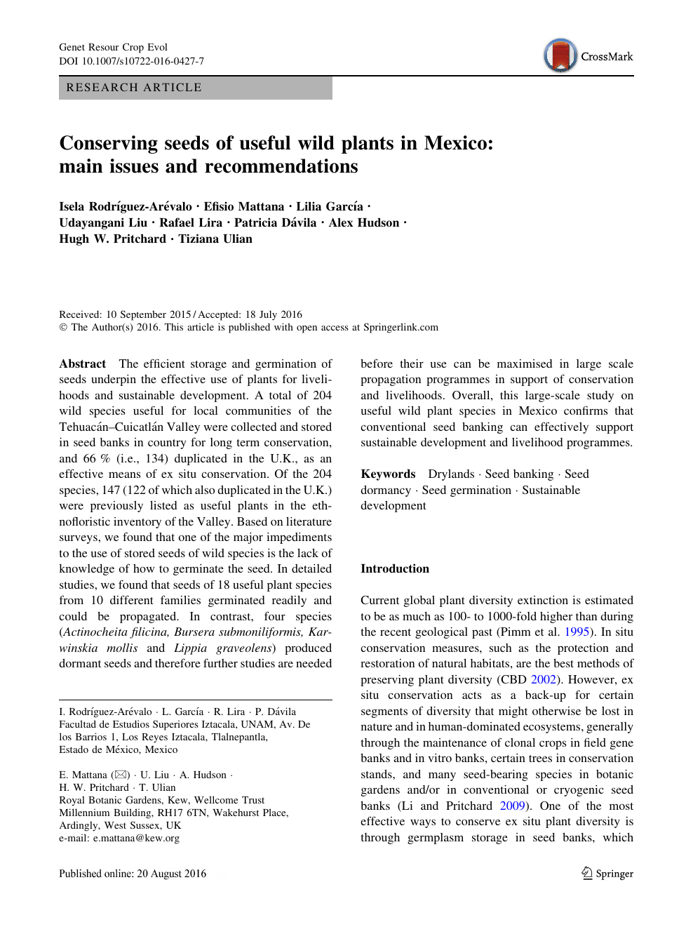 Conserving seeds of useful wild plants in Mexico: main