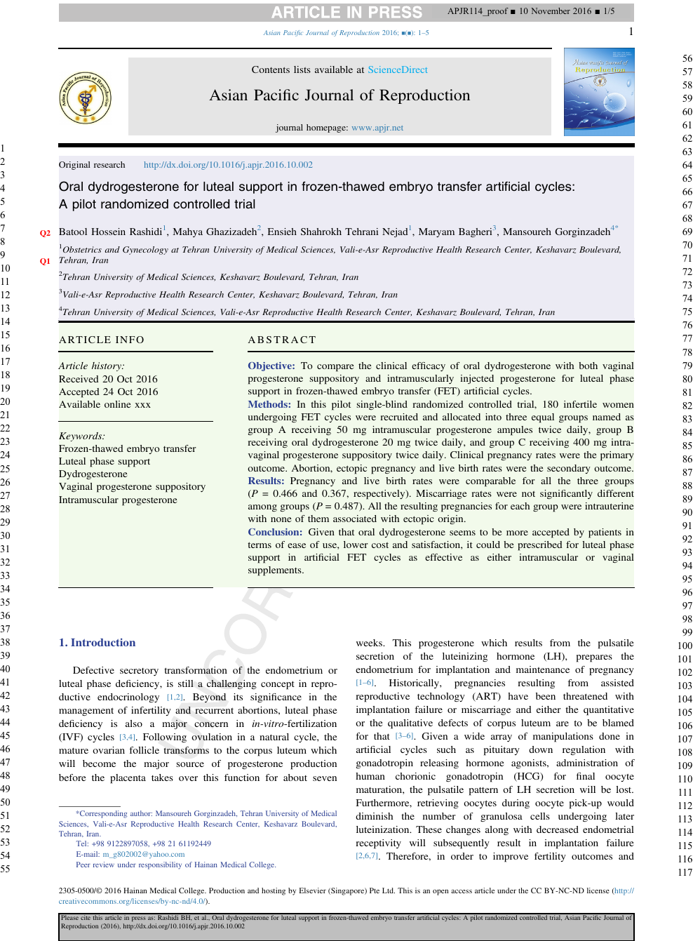 Oral dydrogesterone for luteal support in frozen-thawed