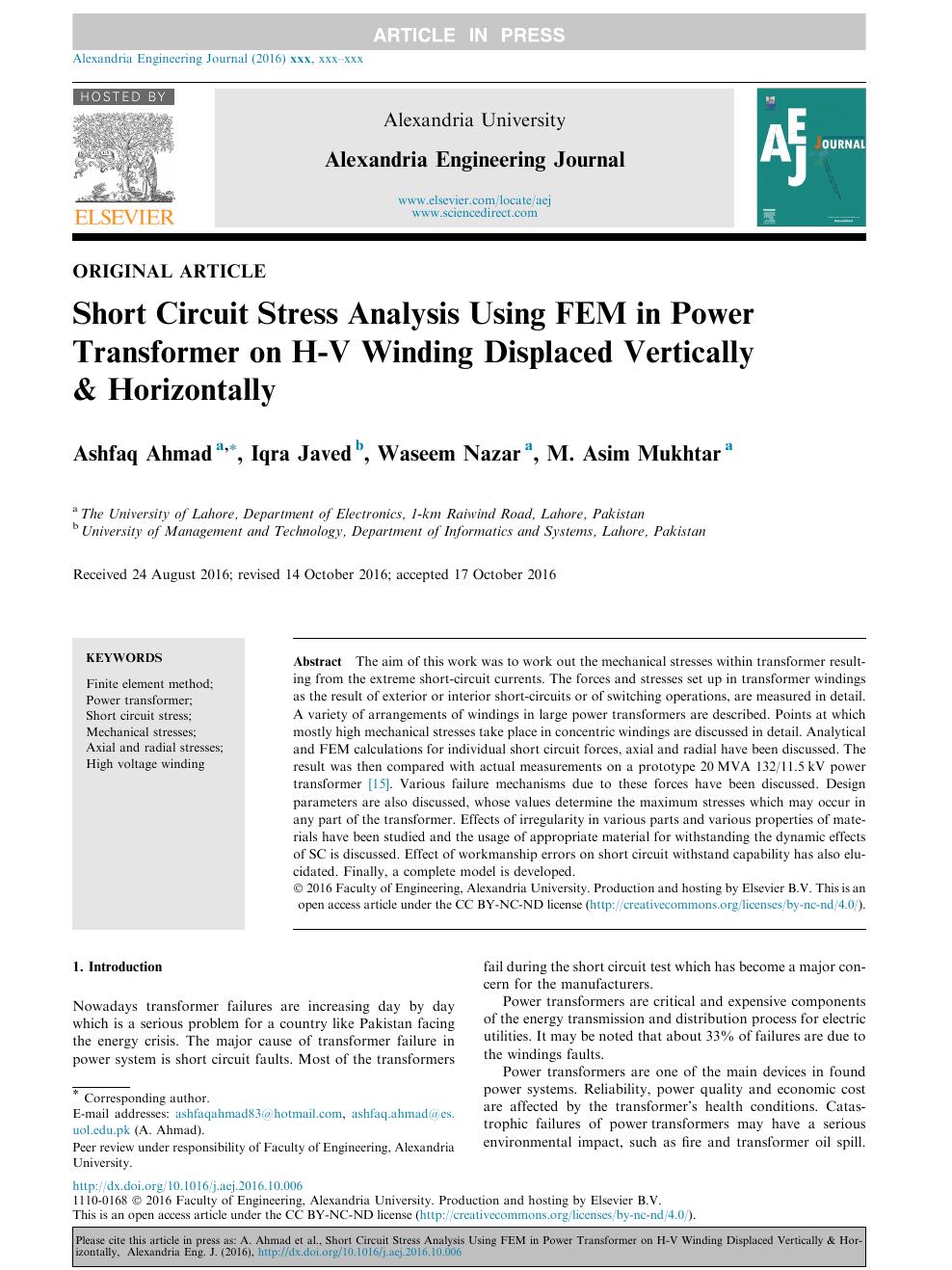 Short Circuit Stress Analysis Using FEM in Power Transformer
