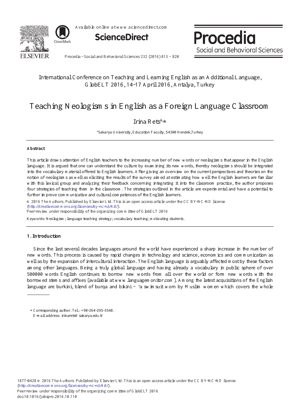 Teaching Neologisms in English as a Foreign Language