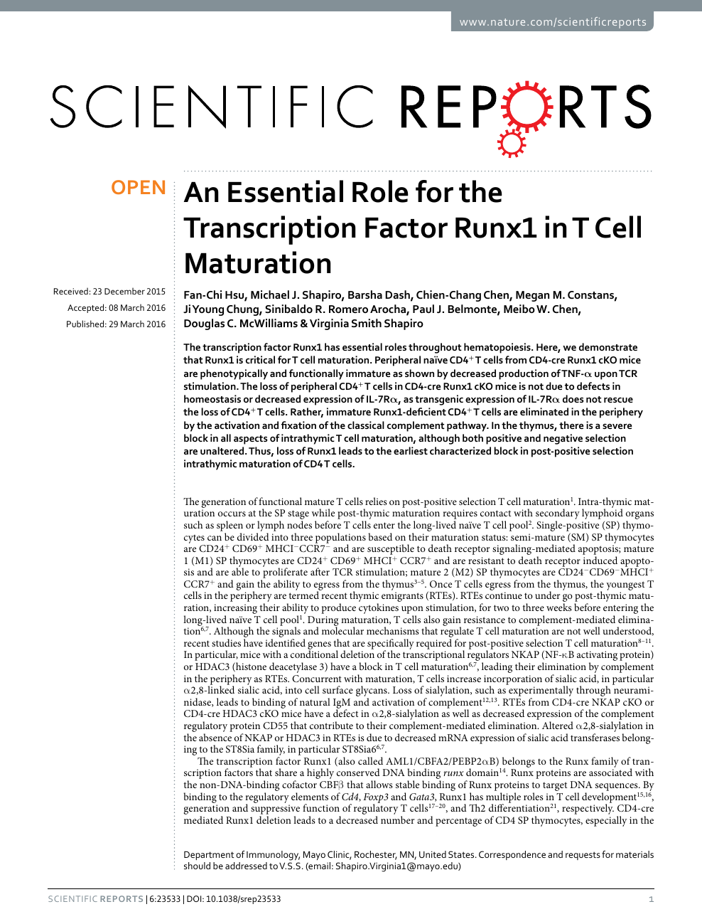An Essential Role for the Transcription Factor Runx1 in T Cell