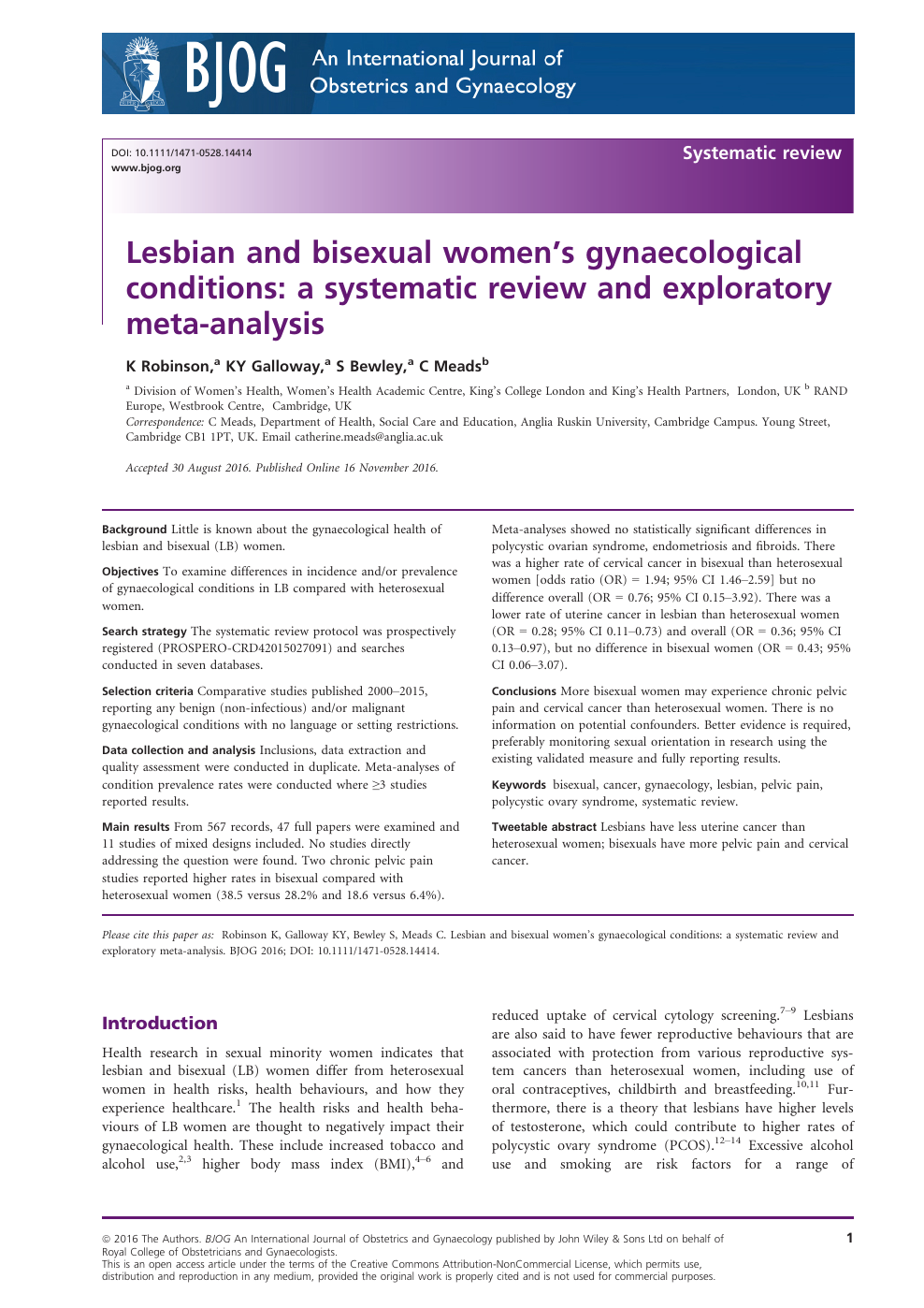 Lesbian and bisexual women's gynaecological conditions: a