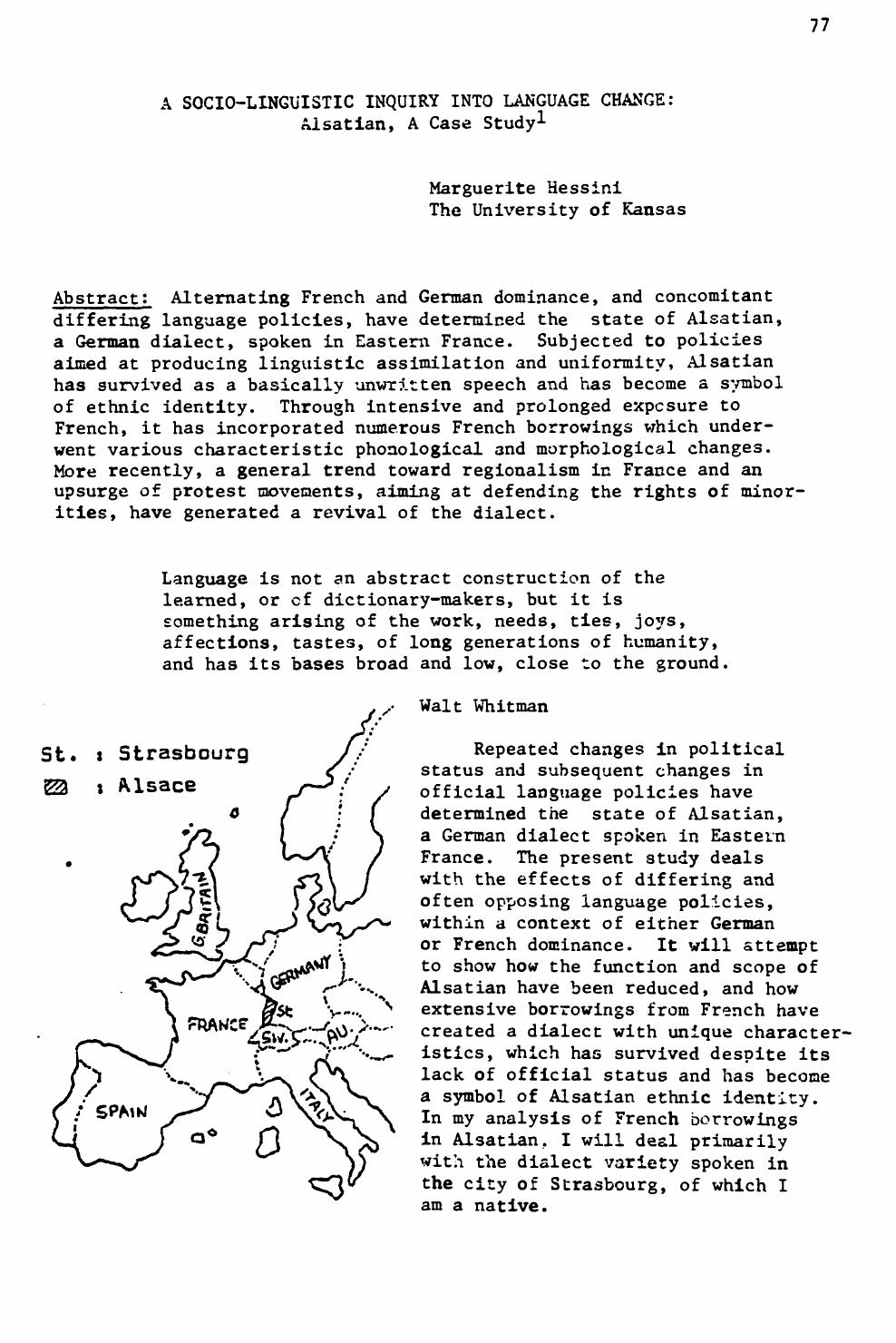 ea34d04ae68697 A Socio-Linguistic Inquiry into Language Change: Alsatian, A Case ...