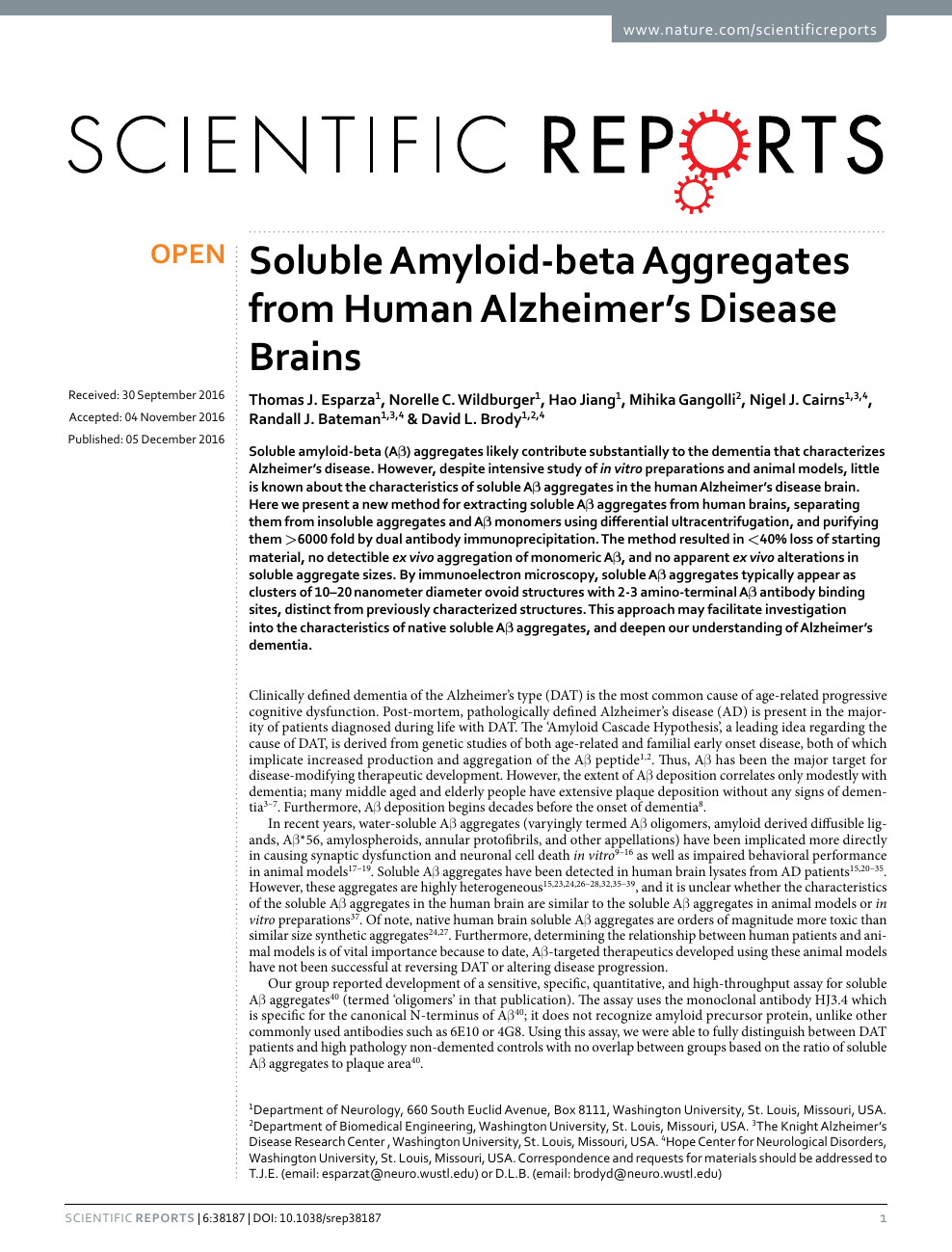 Soluble Amyloid-beta Aggregates from Human Alzheimer's