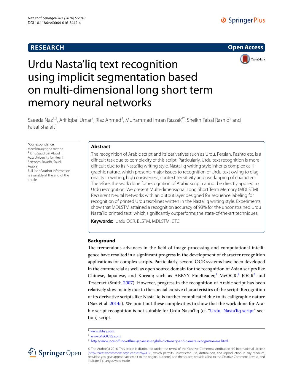 Urdu Nasta'liq text recognition using implicit segmentation