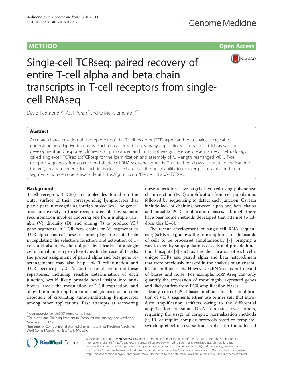 Single-cell TCRseq: paired recovery of entire T-cell alpha and beta