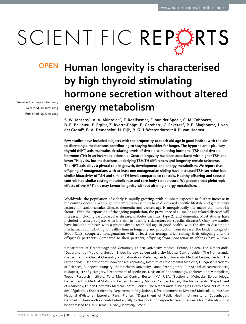 Human longevity is characterised by high thyroid stimulating