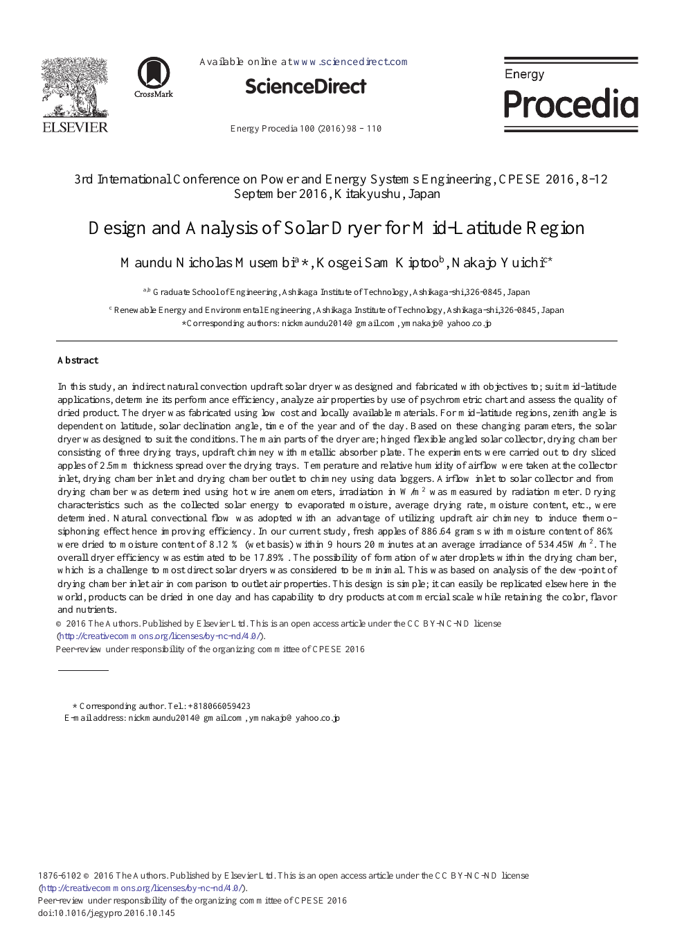 Design and Analysis of Solar Dryer for Mid-Latitude Region