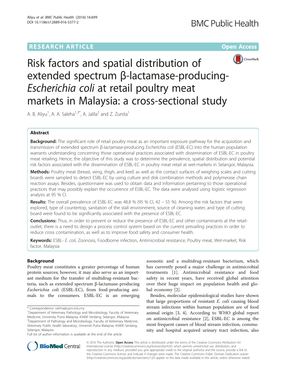 Risk factors and spatial distribution of extended spectrum β