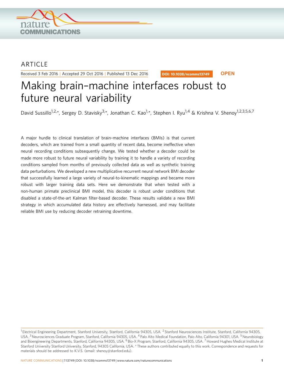 Making brain–machine interfaces robust to future neural