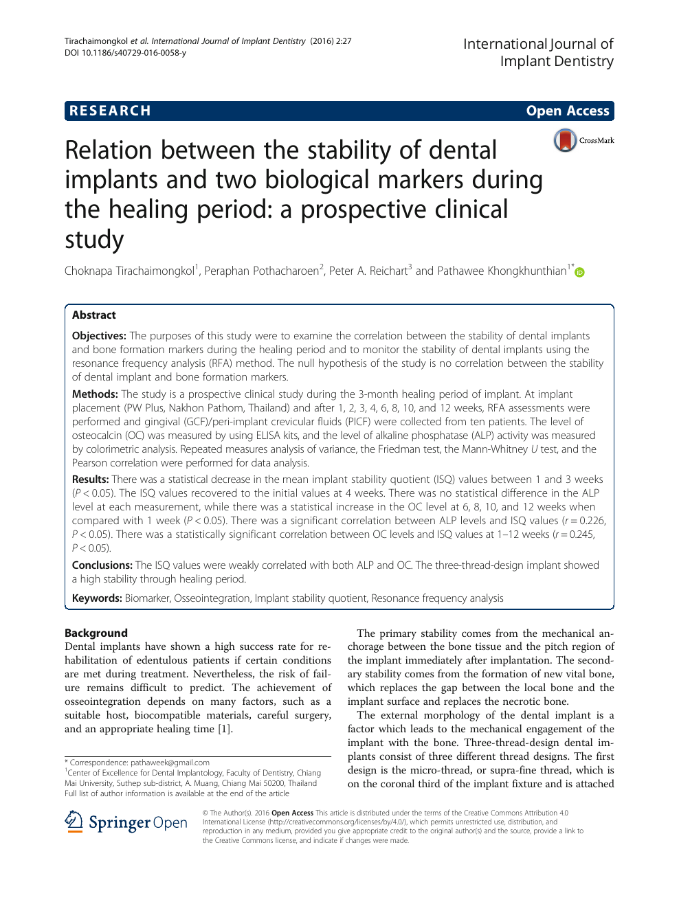 Relation between the stability of dental implants and two biological