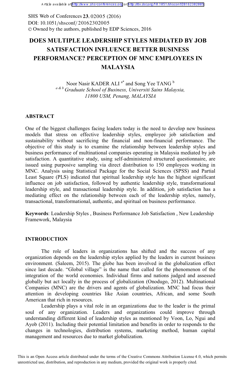 Does Multiple Leadership Styles Mediated By Job Satisfaction Influence Better Business Performance Perception Of Mnc Employees In Malaysia Topic Of Research Paper In Economics And Business Download Scholarly Article Pdf And