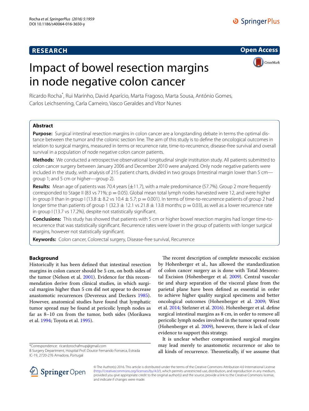 Impact Of Bowel Resection Margins In Node Negative Colon Cancer Topic Of Research Paper In Clinical Medicine Download Scholarly Article Pdf And Read For Free On Cyberleninka Open Science Hub