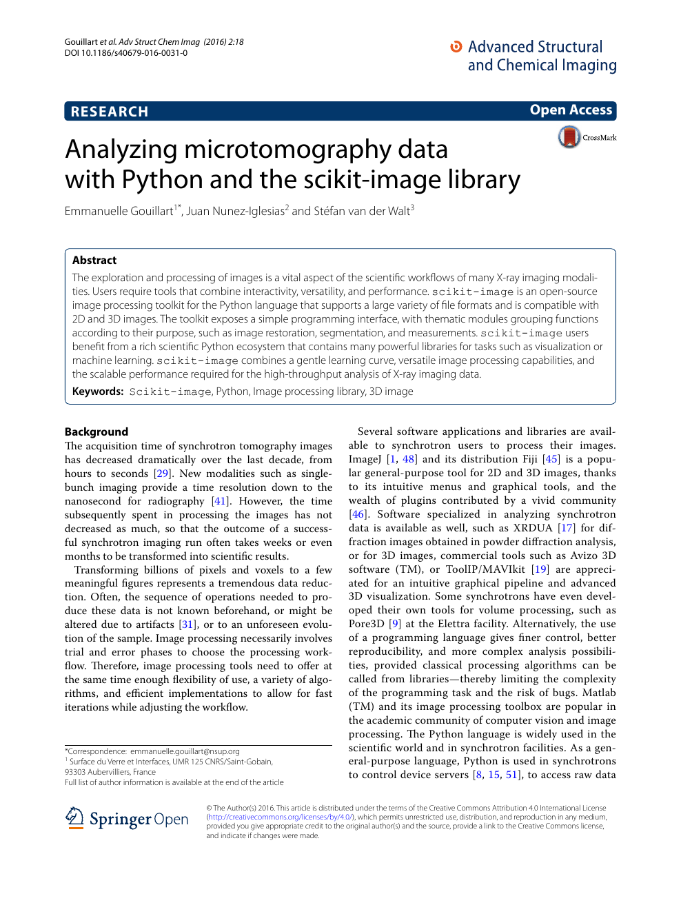 Analyzing microtomography data with Python and the scikit