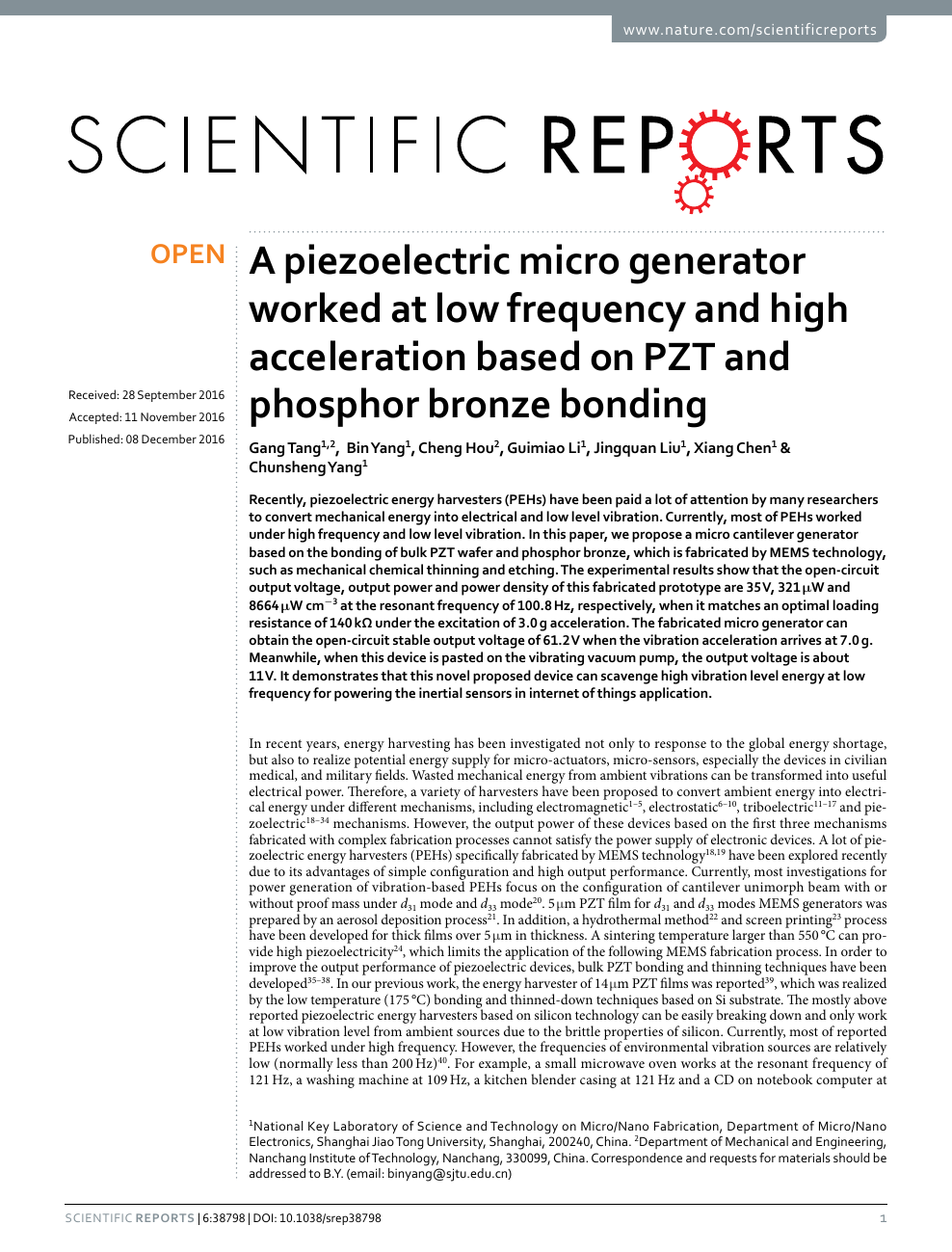A piezoelectric micro generator worked at low frequency and