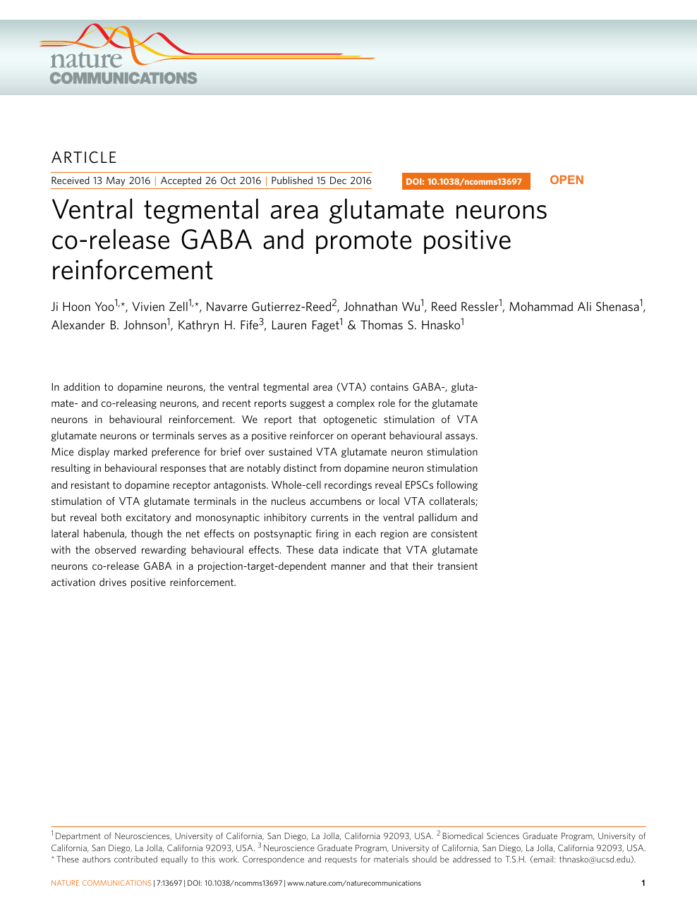 Ventral tegmental area glutamate neurons co-release GABA and